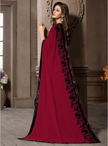 Red Color Georgette Kitty Party Sarees : Pratima Collection  YF-46431