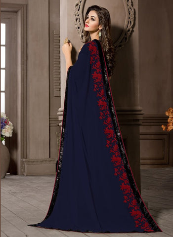 Blue Color Georgette Kitty Party Sarees : Pratima Collection  YF-46432