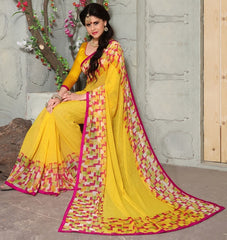 Yellow Color Wrinkle Georgette Casual Party Sarees : Swagatika Collection  YF-41205
