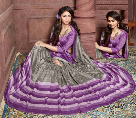 Metallic Grey & Purple Color Bhagalpuri Festival & Party Wear Sarees : Sarisa Collection  YF-37184