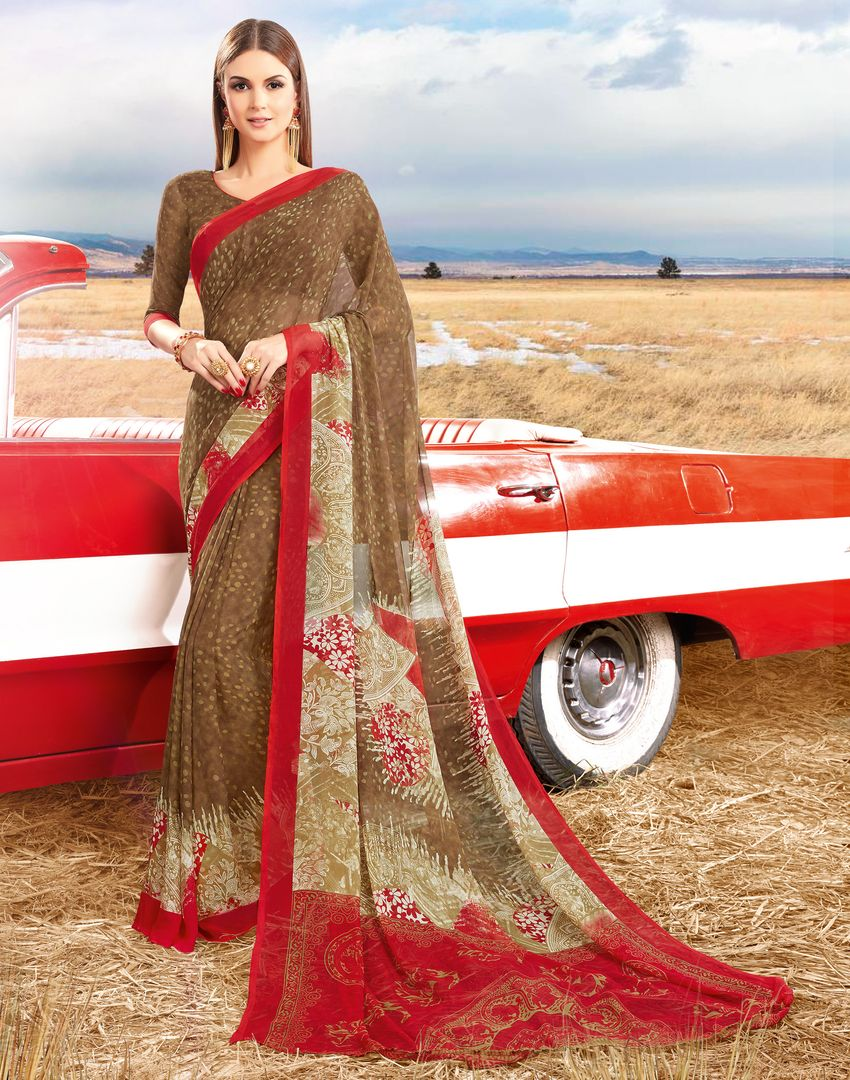 Brown Color Georgette Kitty Party Sarees : Acharya Collection  NYF-2523 - YellowFashion.in