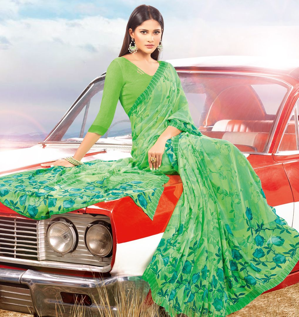 Green Color Georgette Kitty Party Sarees : Acharya Collection  NYF-2536 - YellowFashion.in