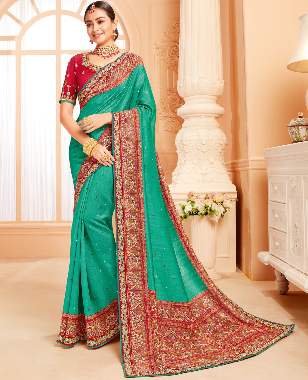 Green Color Raw Silk Lovely Wedding Function Sarees NYF-4819