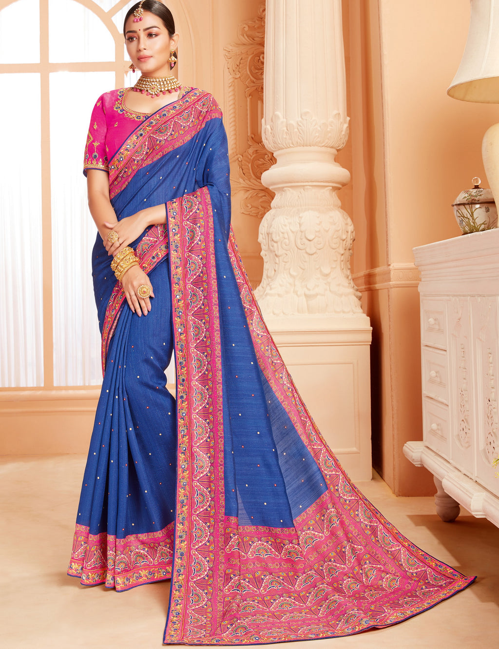 Blue Color Raw Silk Lovely Wedding Function Sarees NYF-4820