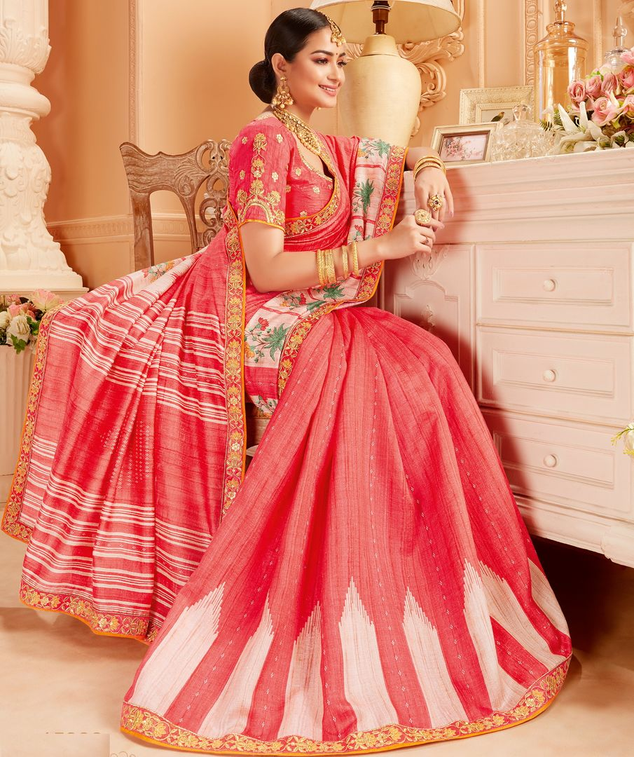 Pink Color Raw Silk Lovely Wedding Function Sarees NYF-4821