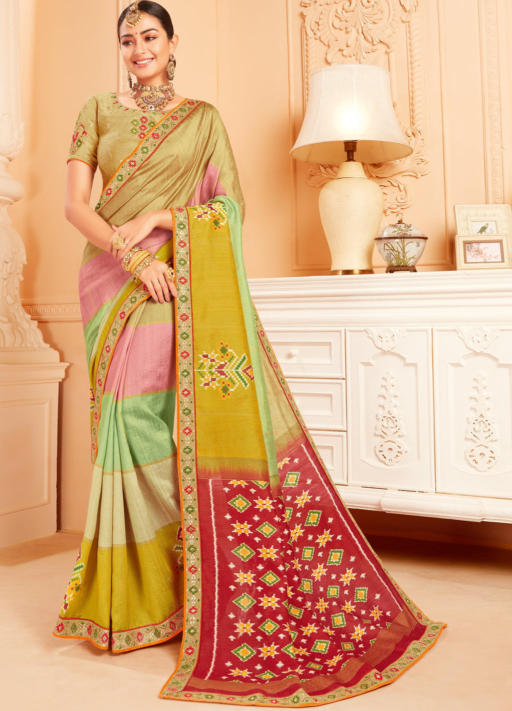 Multi Color Raw Silk Lovely Wedding Function Sarees NYF-4822
