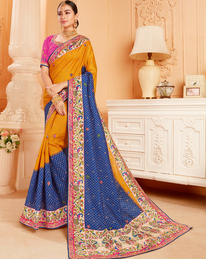 Blue & Mango Yellow Color Raw Silk Lovely Wedding Function Sarees NYF-4823