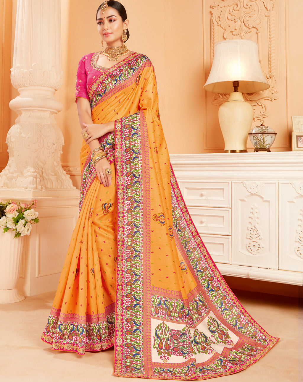 Orange Color Raw Silk Lovely Wedding Function Sarees NYF-4824