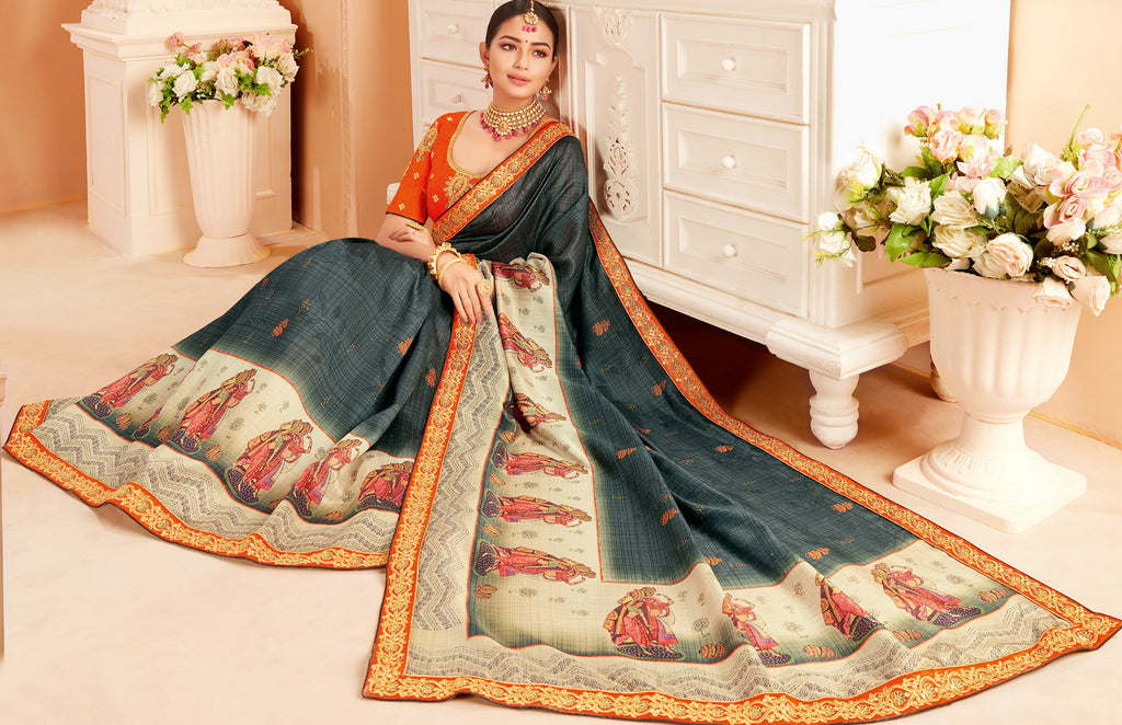 Grey Color Raw Silk Lovely Wedding Function Sarees NYF-4825