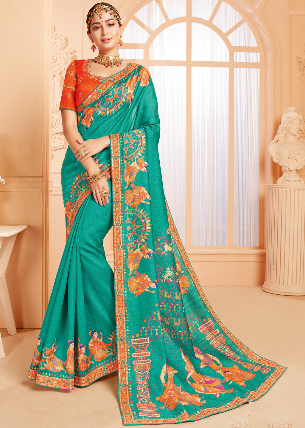 Sea Green Color Raw Silk Lovely Wedding Function Sarees NYF-4826