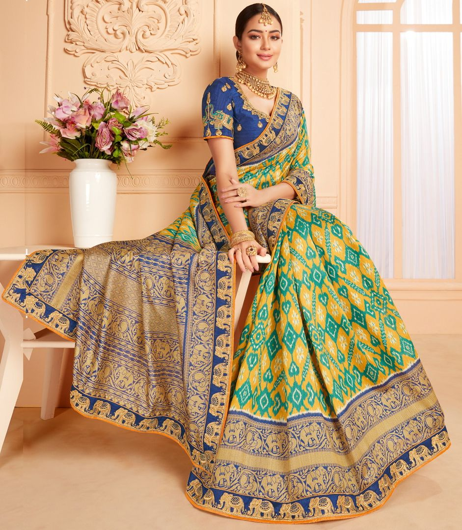 Yellow & Green Color Raw Silk Lovely Wedding Function Sarees NYF-4827