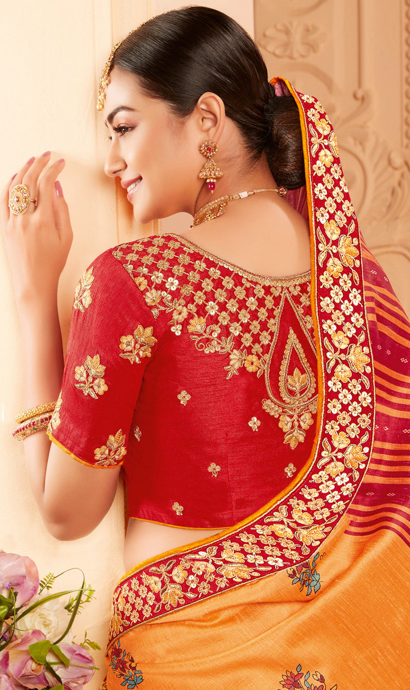 Orange Color Raw Silk Lovely Wedding Function Sarees NYF-4828