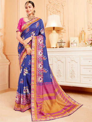 Blue Color Raw Silk Lovely Wedding Function Sarees NYF-4829