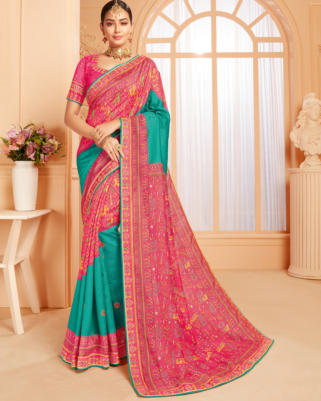 Sea Green & Pink Color Raw Silk Lovely Wedding Function Sarees NYF-4830