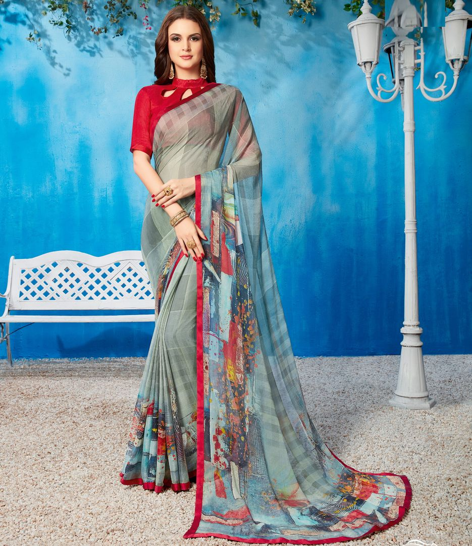 Grey Color Wrinkle Chiffon Kitty Party Sarees NYF-3733 - YellowFashion.in