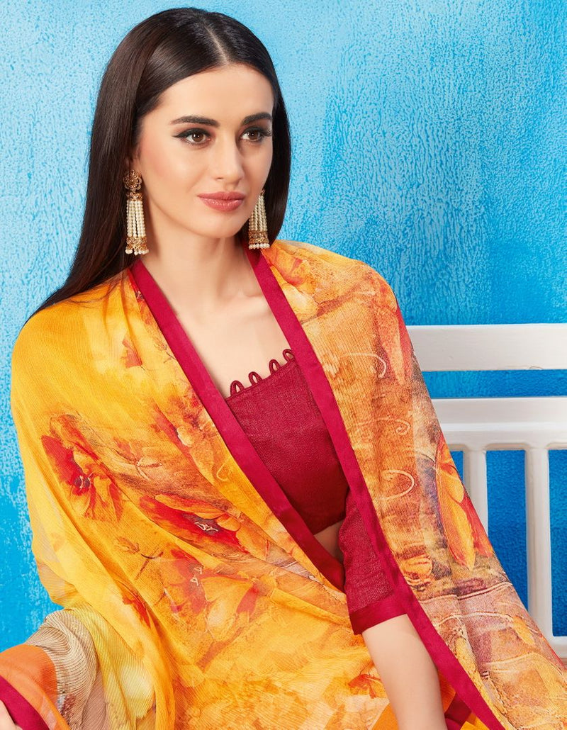 Yellow Color Wrinkle Chiffon Kitty Party Sarees NYF-3734 - YellowFashion.in