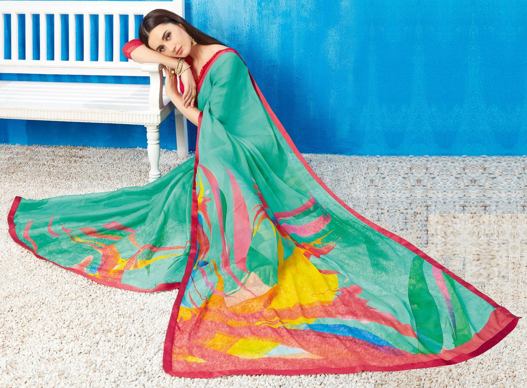 Sea Green Color Wrinkle Chiffon Kitty Party Sarees NYF-3735 - YellowFashion.in