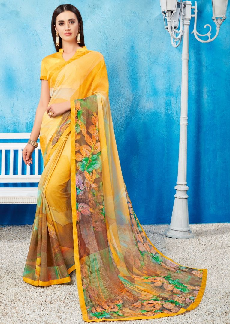 Yellow Color Wrinkle Chiffon Kitty Party Sarees NYF-3736 - YellowFashion.in