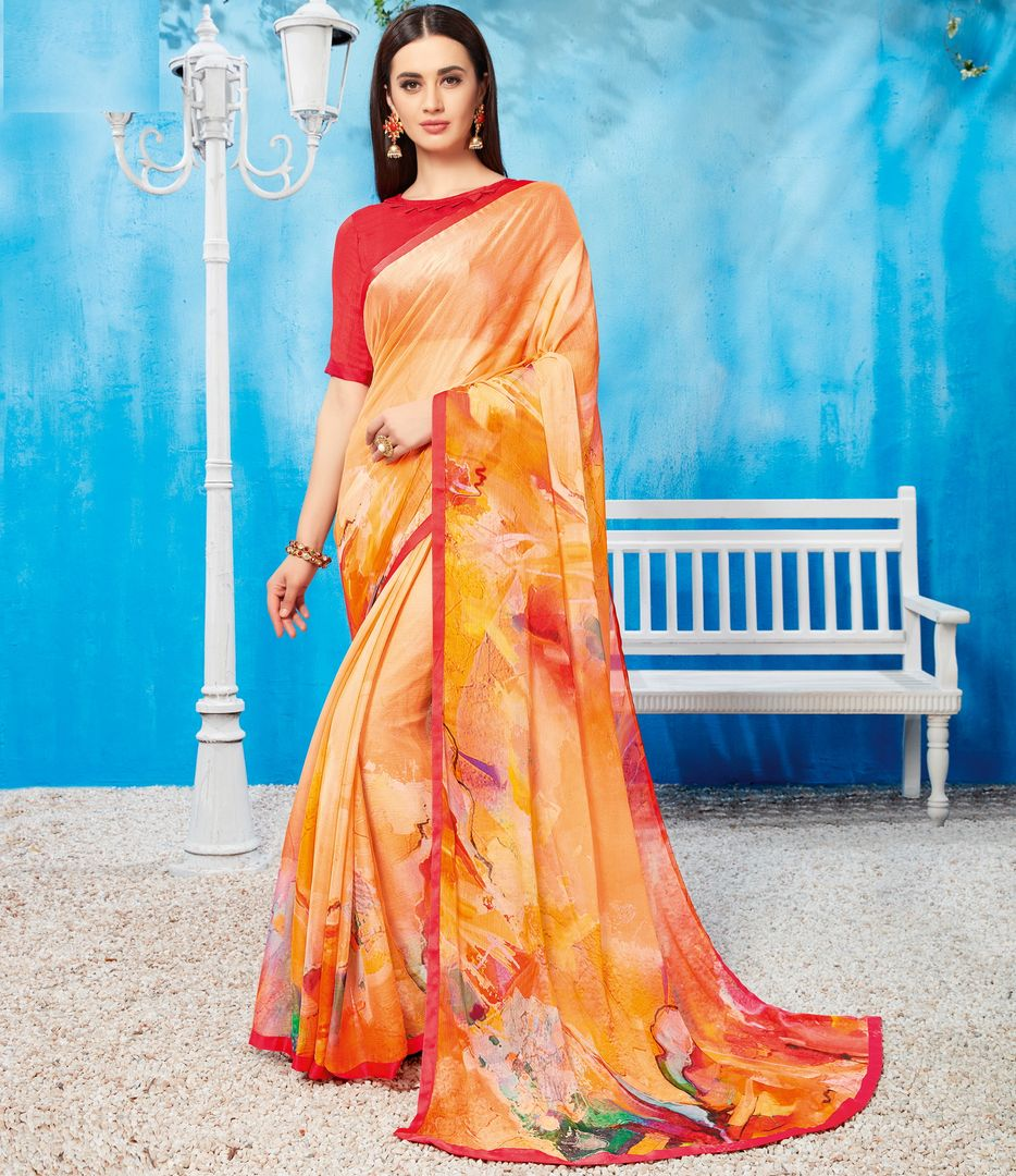 Orange Color Wrinkle Chiffon Kitty Party Sarees NYF-3737 - YellowFashion.in