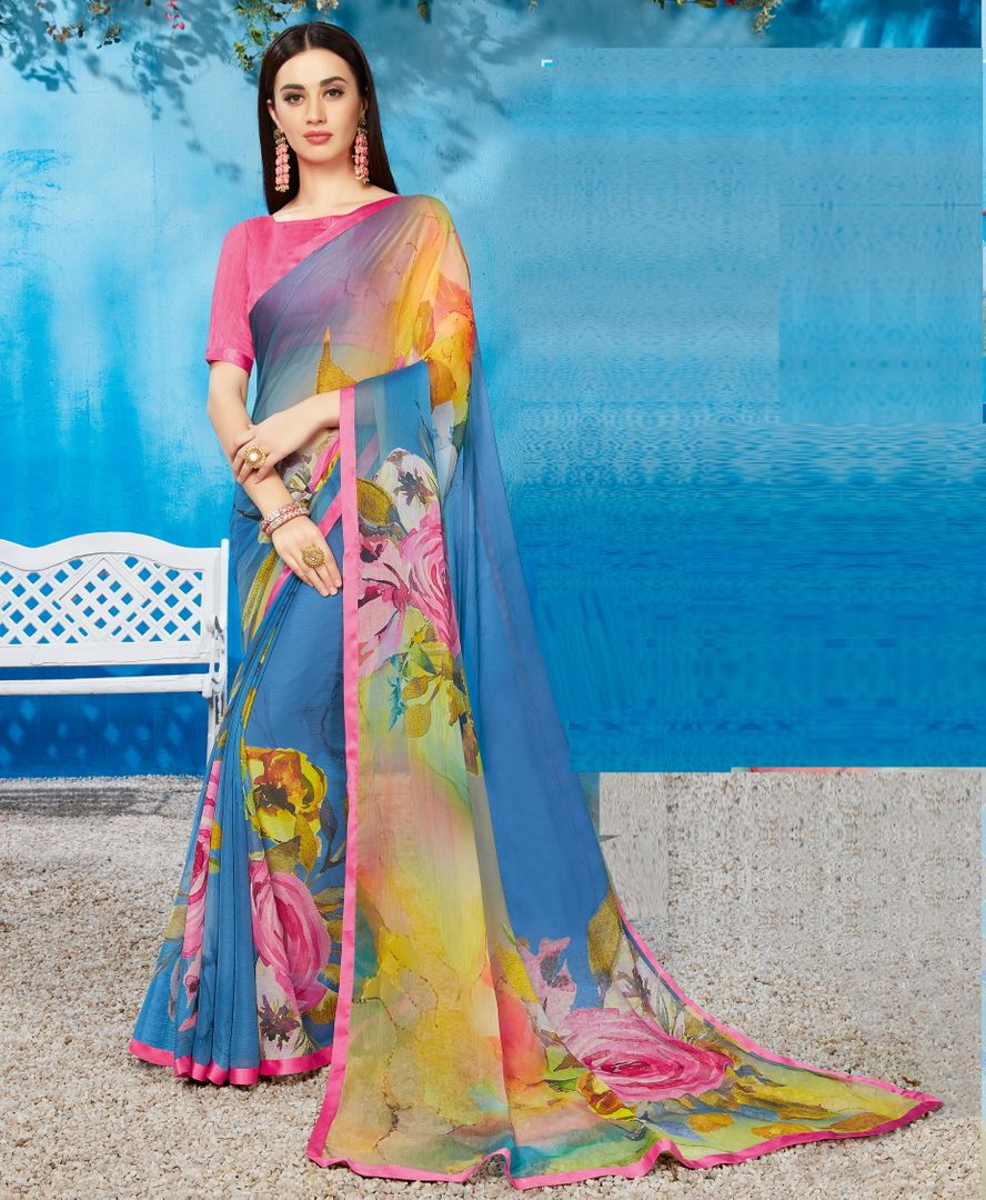 Aqua Blue Color Wrinkle Chiffon Kitty Party Sarees NYF-3740 - YellowFashion.in