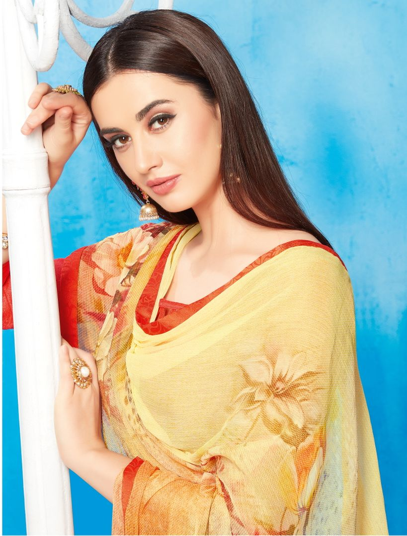 Yellow Color Wrinkle Chiffon Kitty Party Sarees NYF-3741 - YellowFashion.in