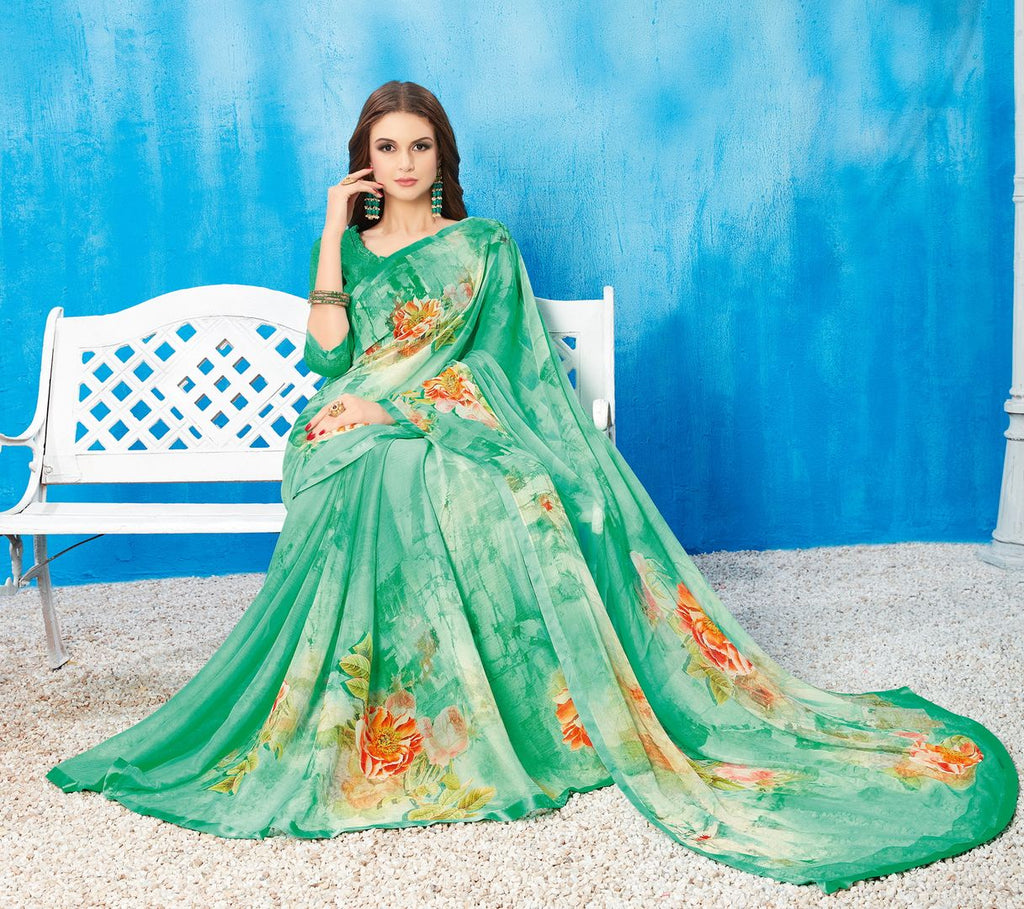 Aqua Green Color Wrinkle Chiffon Kitty Party Sarees NYF-3742 - YellowFashion.in
