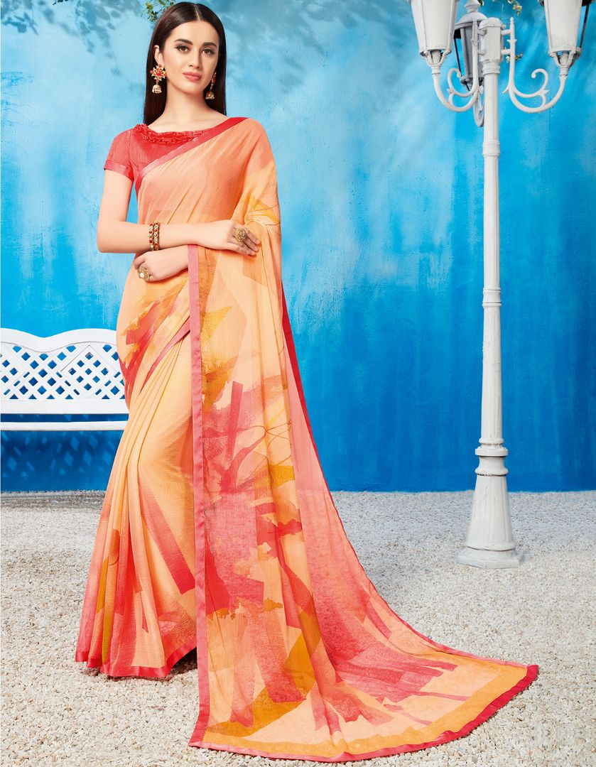 Orange & Pink Color Wrinkle Chiffon Kitty Party Sarees NYF-3743 - YellowFashion.in