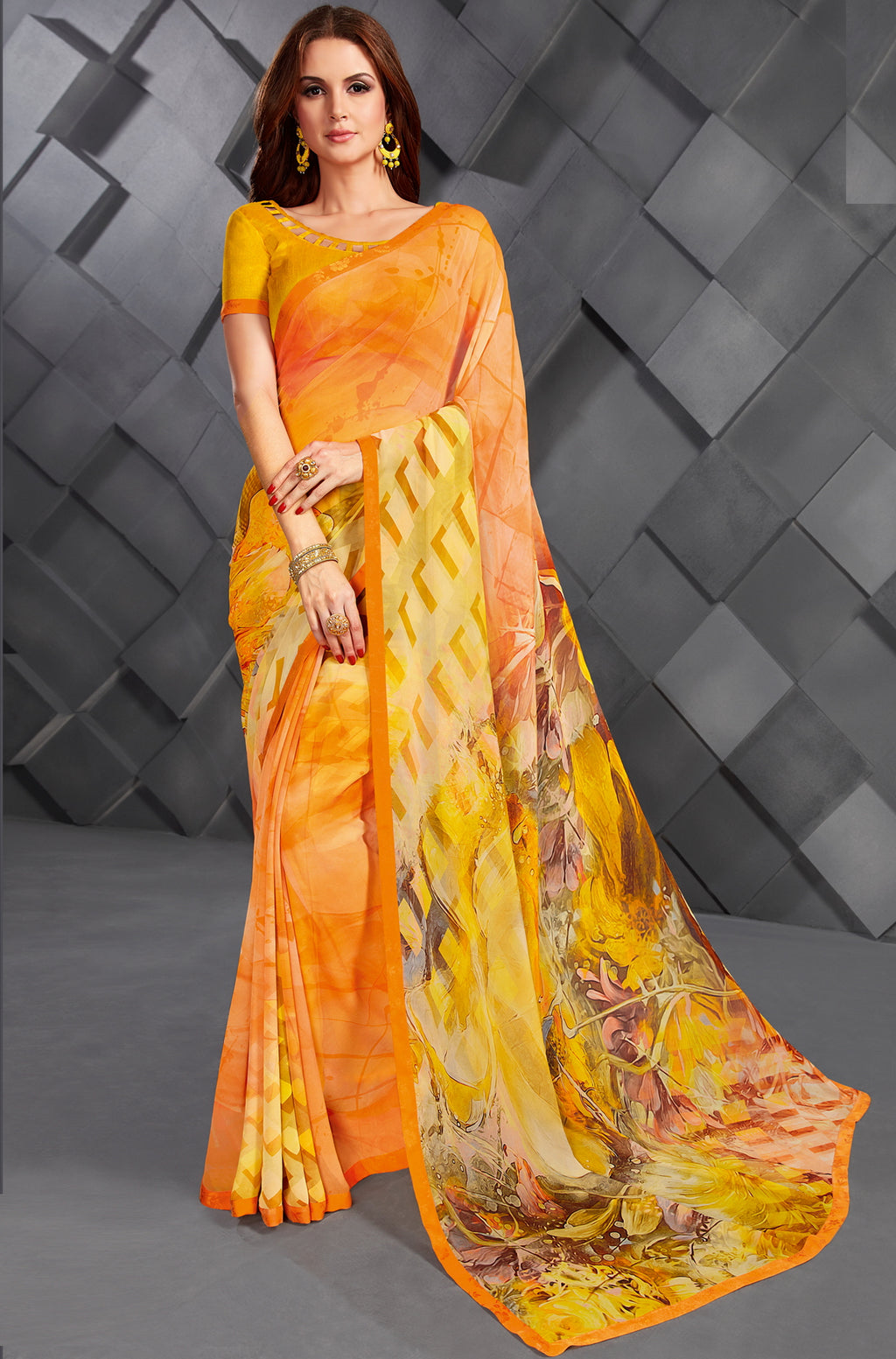 Yellow & Orange Color Georgette Splendid Kitty Party Sarees NYF-6385