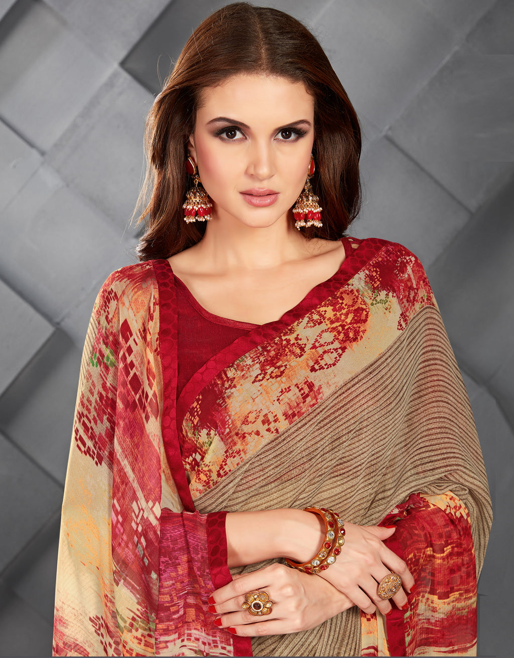 Beige Color Georgette Splendid Kitty Party Sarees NYF-6386