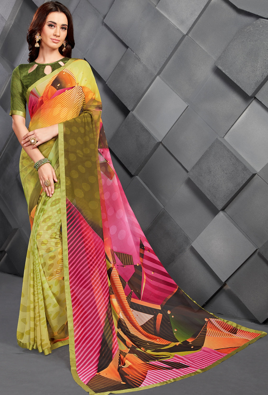 Multi Color Georgette Splendid Kitty Party Sarees NYF-6387