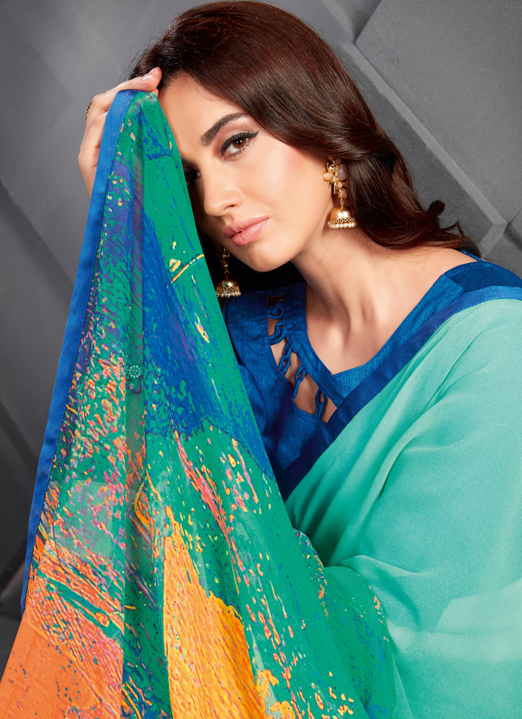 Aqua Blue Color Georgette Splendid Kitty Party Sarees NYF-6388