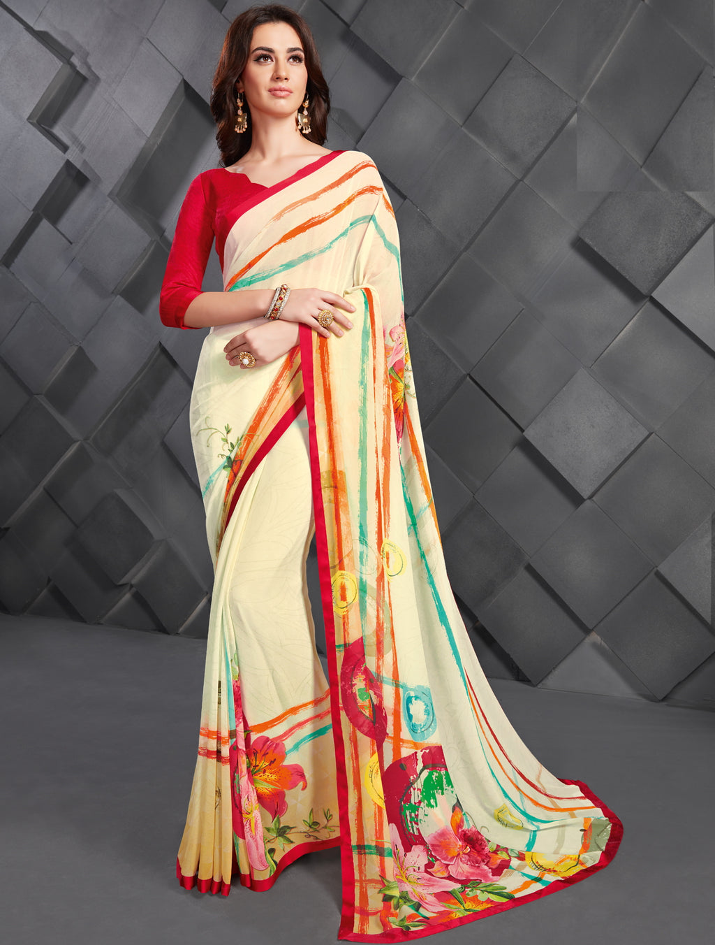 Off White Color Georgette Splendid Kitty Party Sarees NYF-6389