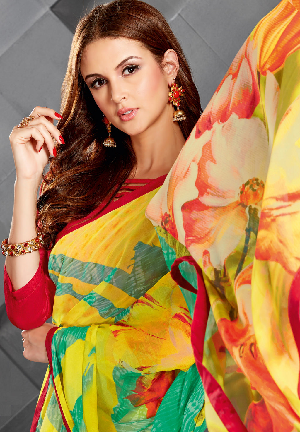 Yellow Color Georgette Splendid Kitty Party Sarees NYF-6390