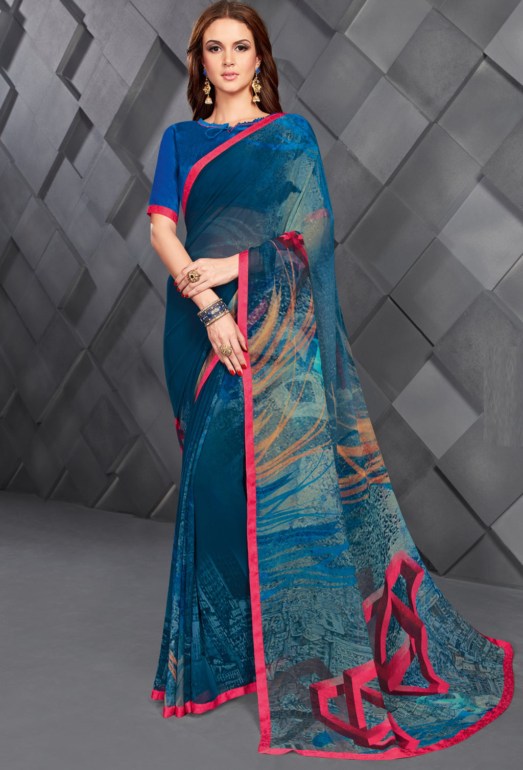 Blue Color Georgette Splendid Kitty Party Sarees NYF-6391