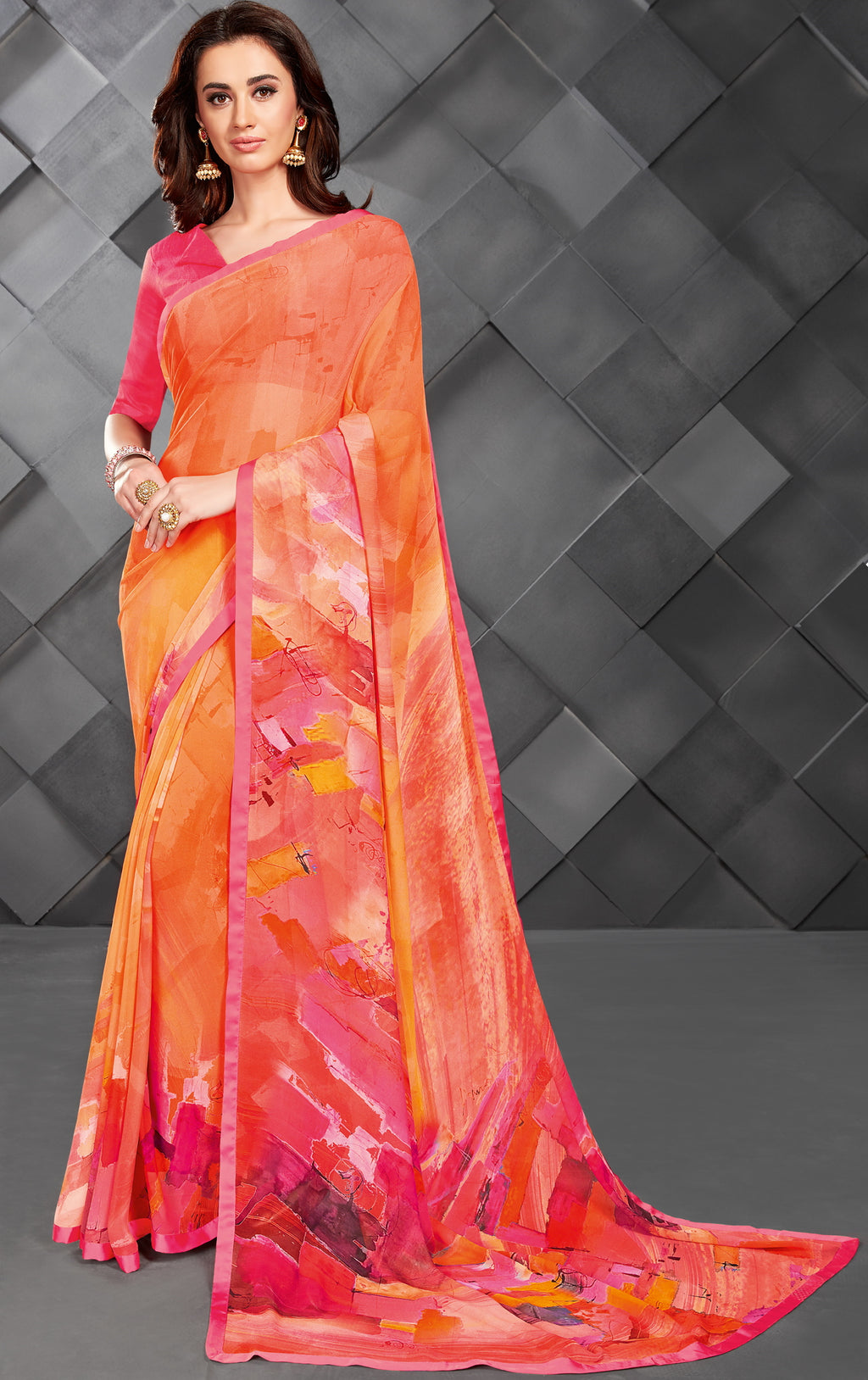Orange & Pink Color Georgette Splendid Kitty Party Sarees NYF-6392