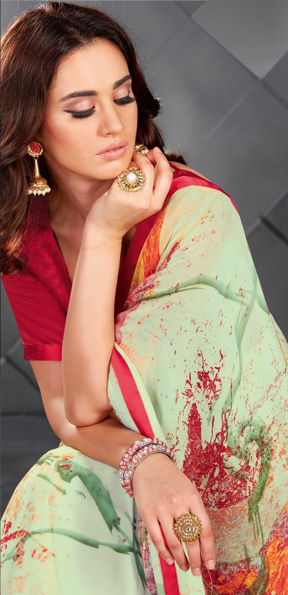 Multi Color Georgette Splendid Kitty Party Sarees NYF-6393