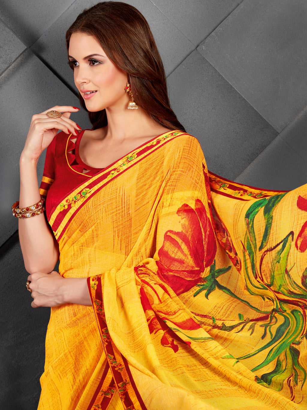 Yellow Color Georgette Splendid Kitty Party Sarees NYF-6394