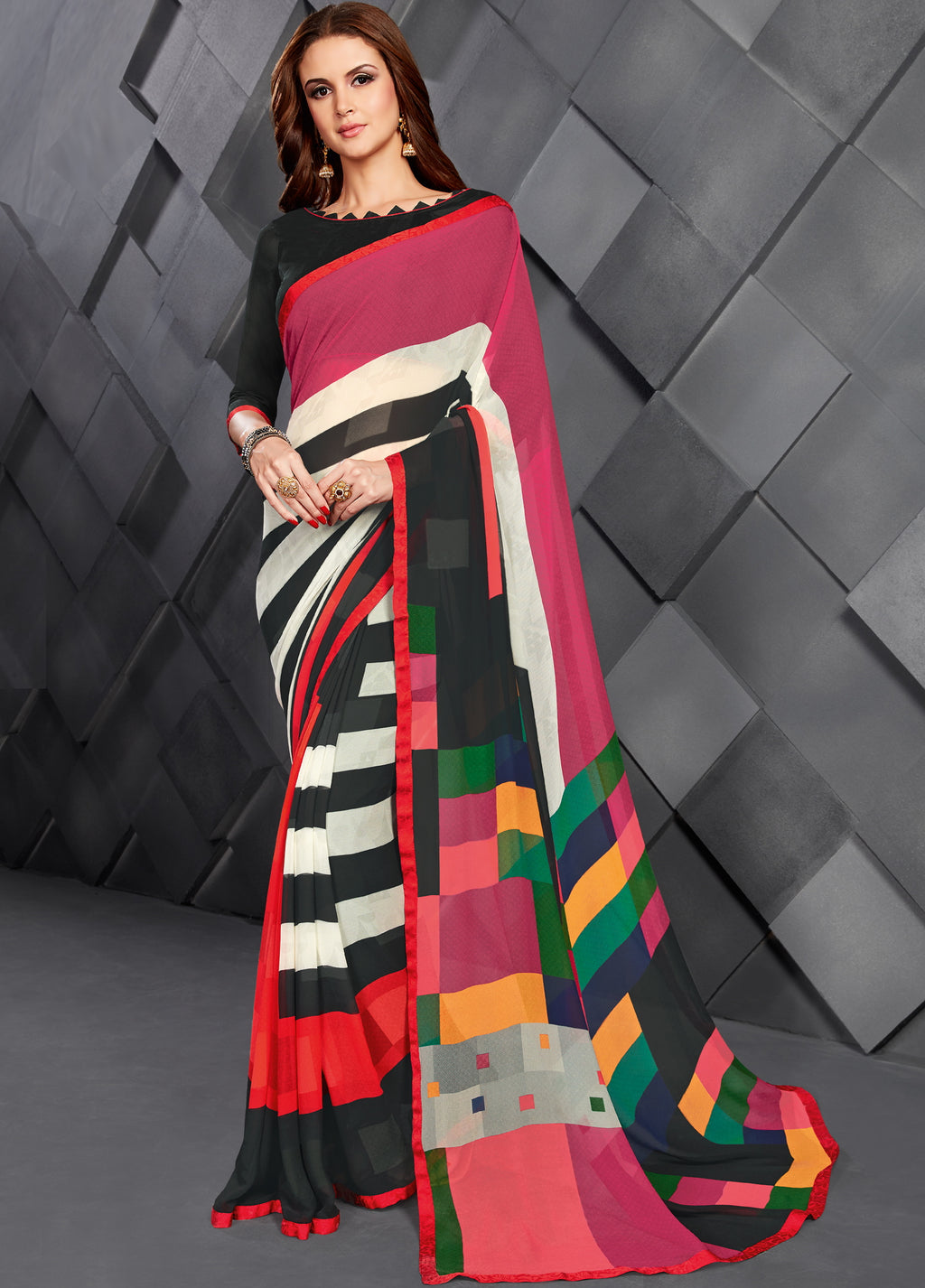 Multi Color Georgette Splendid Kitty Party Sarees NYF-6395