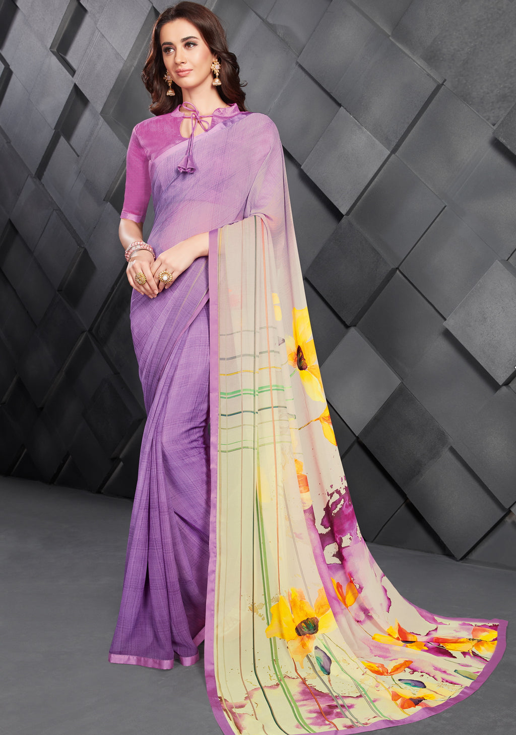 Lavender Color Georgette Splendid Kitty Party Sarees NYF-6396