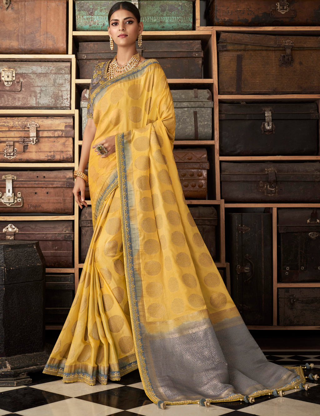 Yellow Color Raw Silk Designer Bridal Sarees NYF-4154 - YellowFashion.in