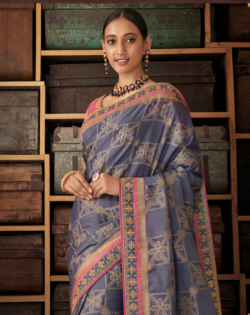 Grey Color Raw Silk Designer Bridal Sarees NYF-4155 - YellowFashion.in