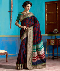 Blue & Red Color Bhagalpuri Casual Function Wear Sarees : Tarana Collection  YF-37632