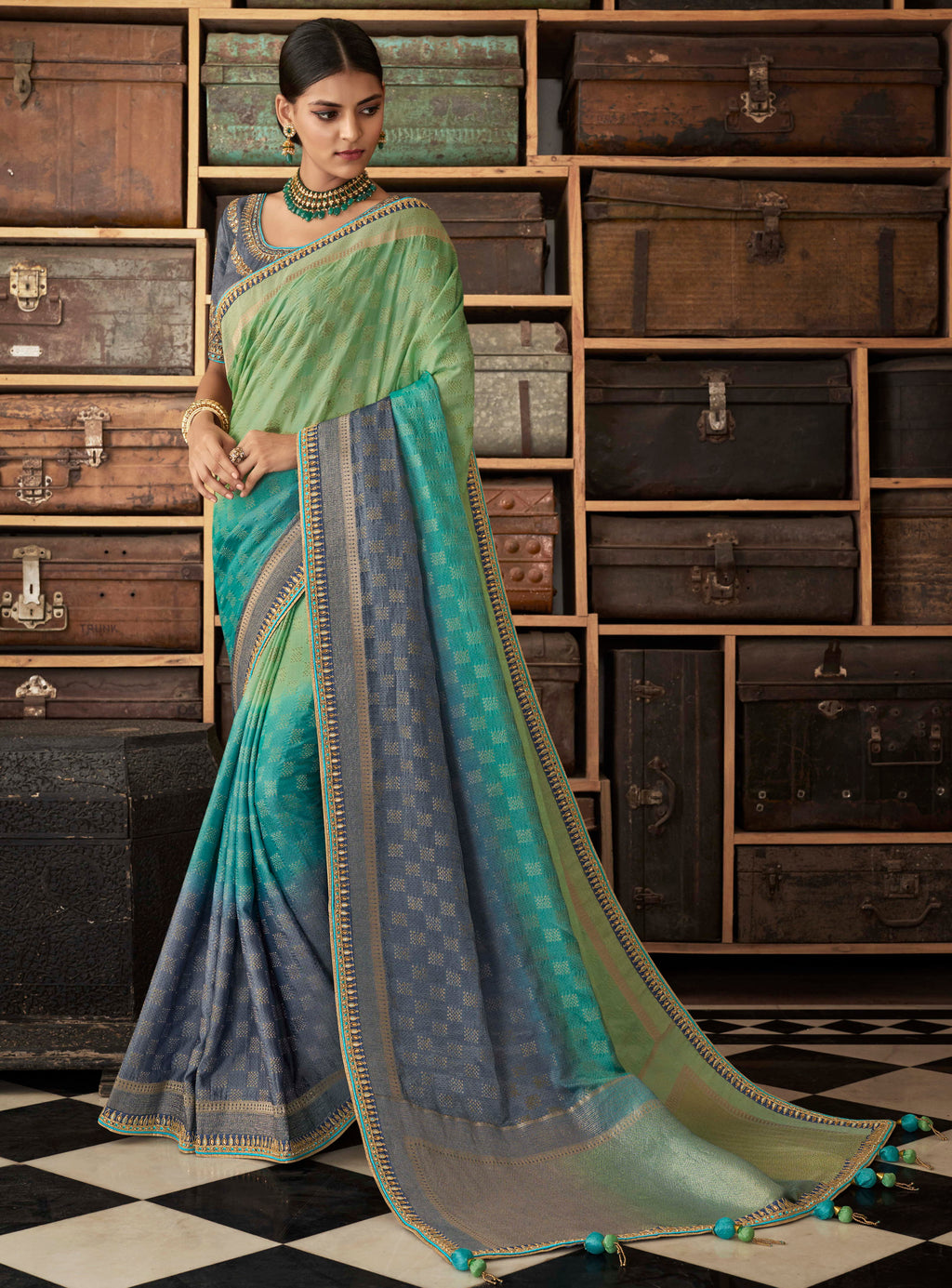 Sea Green & Firozi Color Raw Silk Designer Bridal Sarees NYF-4156 - YellowFashion.in