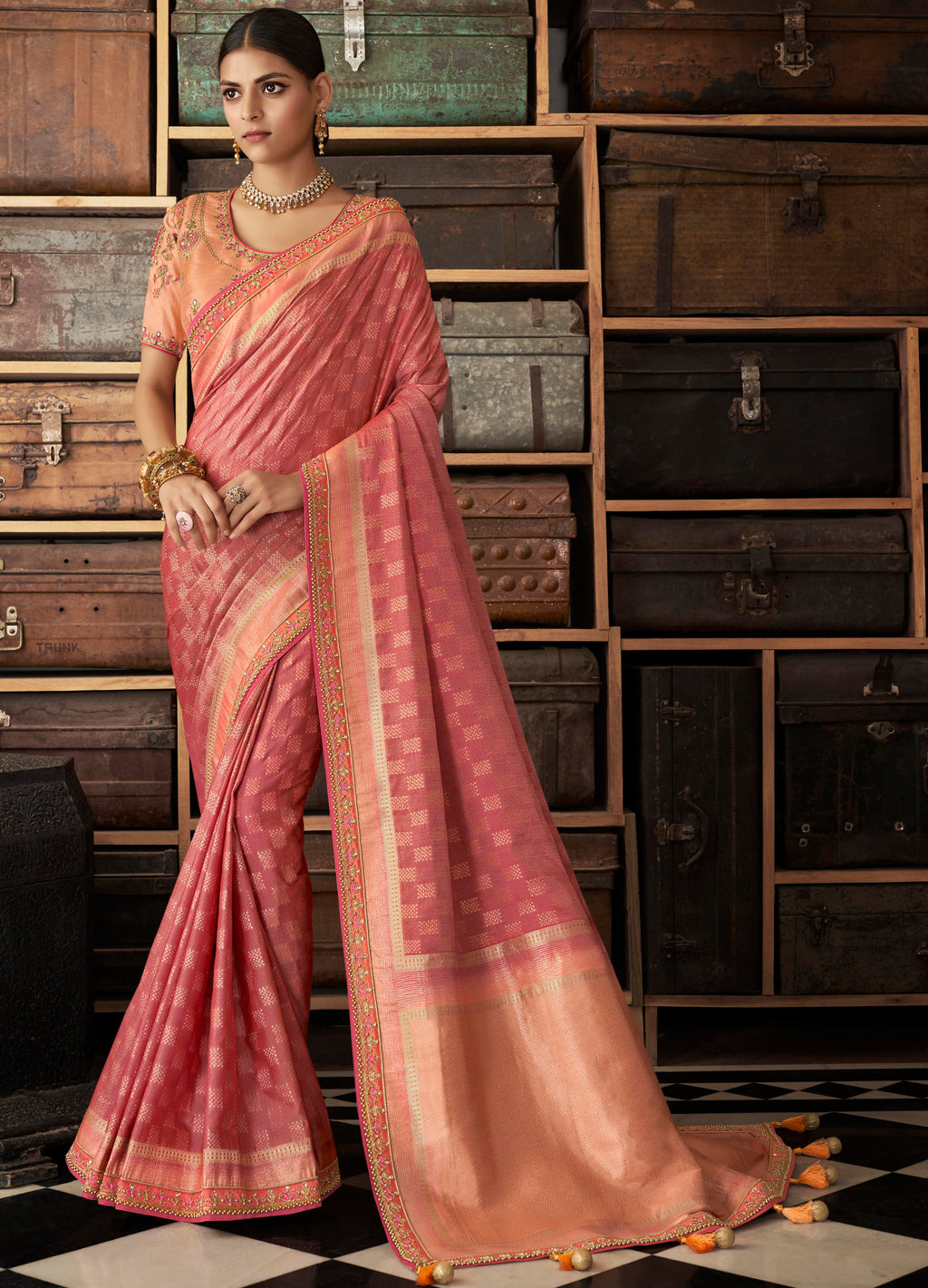 Pink Color Raw Silk Designer Bridal Sarees NYF-4157 - YellowFashion.in