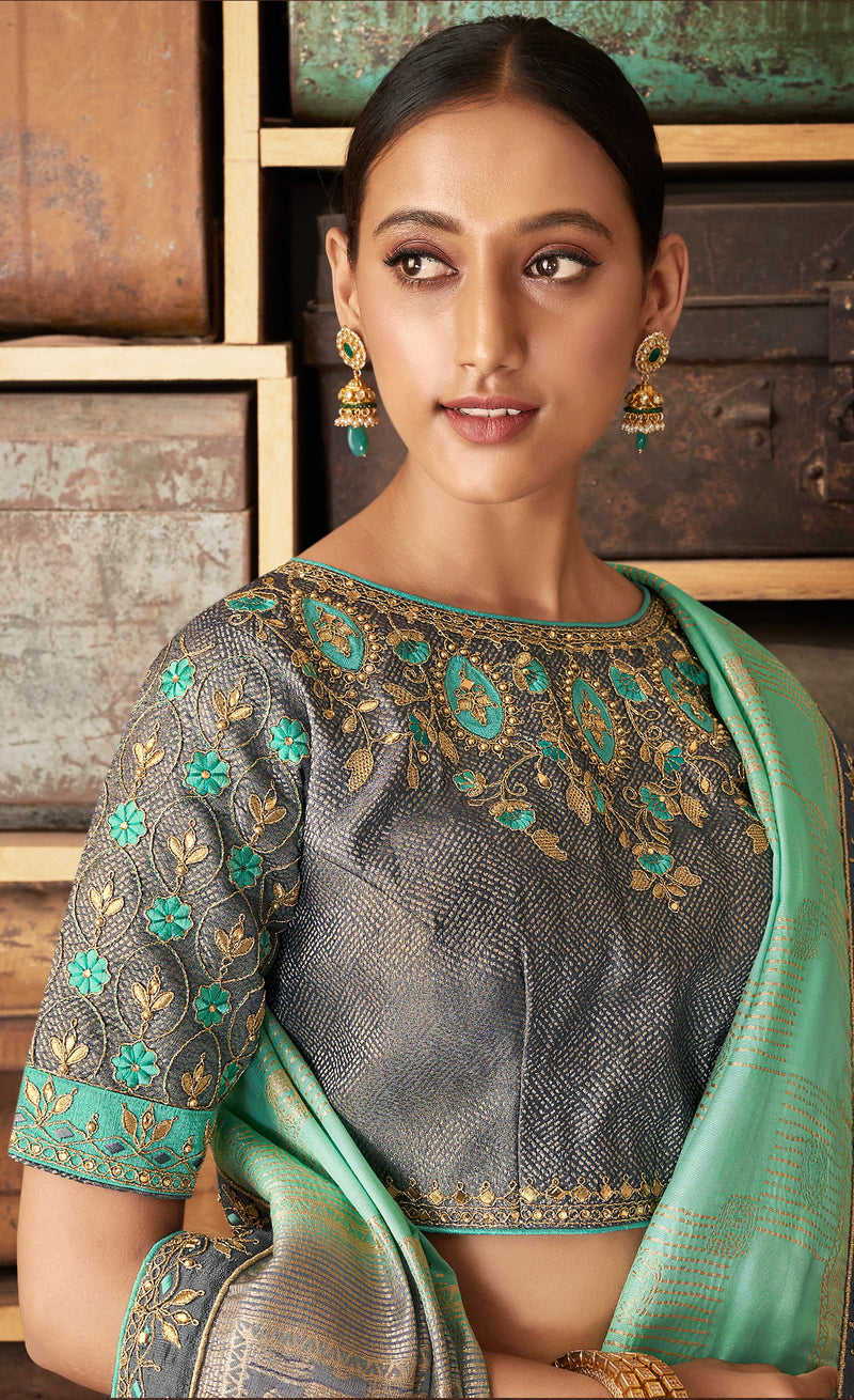Sea Green Color Raw Silk Designer Bridal Sarees NYF-4158 - YellowFashion.in