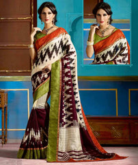 Maroon & Cream Color Bhagalpuri Casual Function Wear Sarees : Tarana Collection  YF-37642