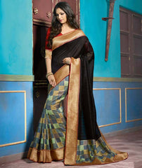 Black Color Bhagalpuri Casual Function Wear Sarees : Tarana Collection  YF-37654