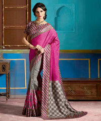 Pink & Grey Color Bhagalpuri Casual Function Wear Sarees : Tarana Collection  YF-37661