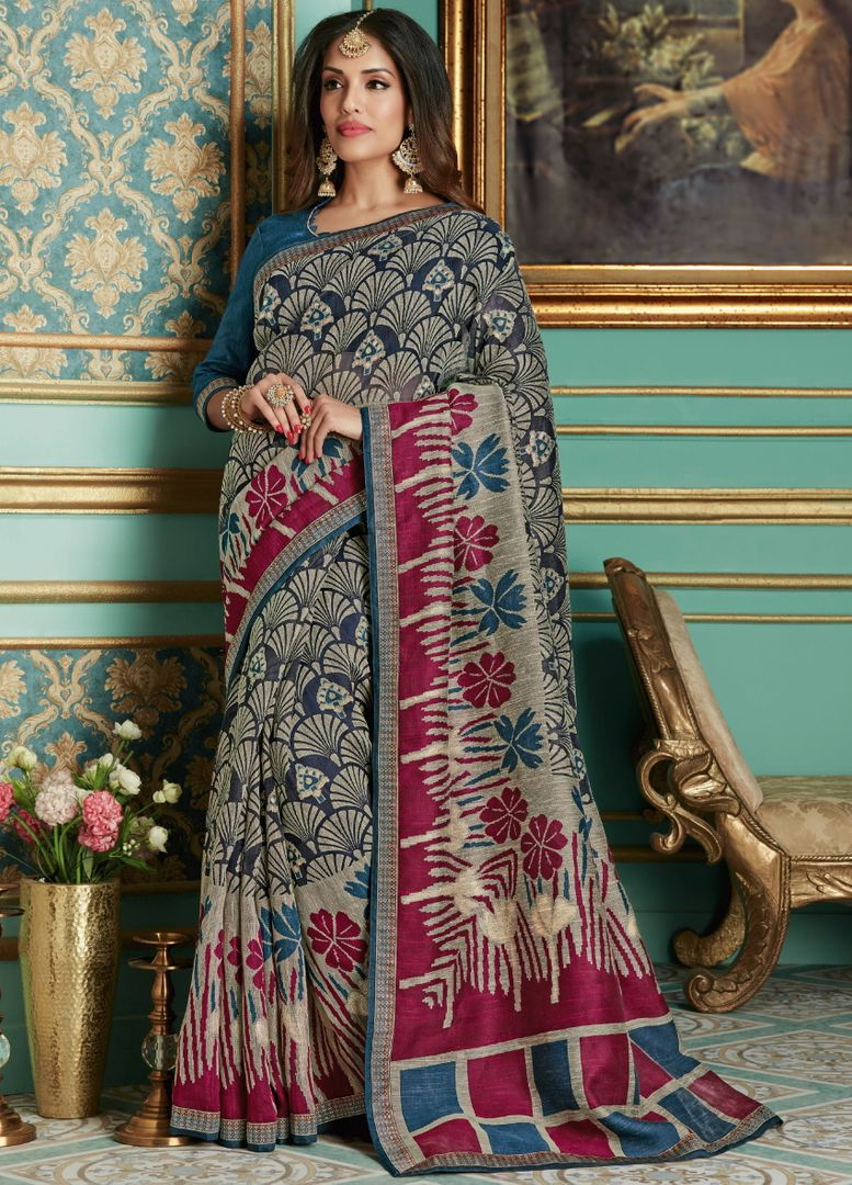 Blue Color Bhagalpuri Aesthetic Party Wear Sarees NYF-4374 - YellowFashion.in