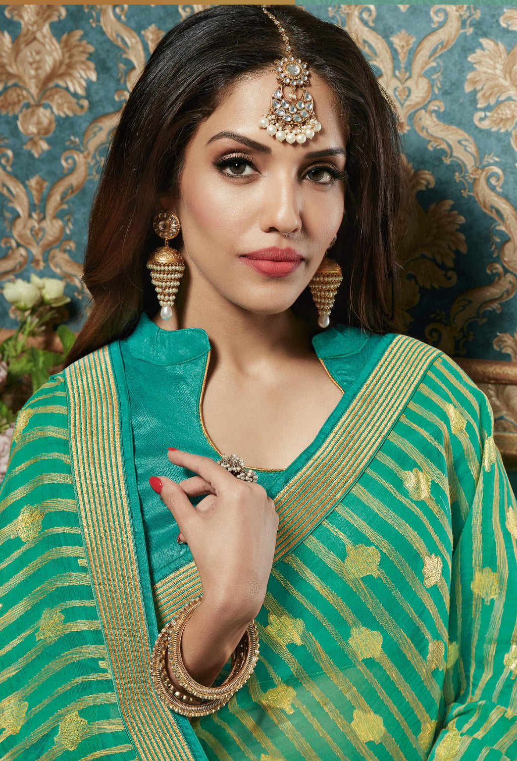Sea Green Color Chiffon Brasso Aesthetic Party Wear Sarees NYF-4376 - YellowFashion.in